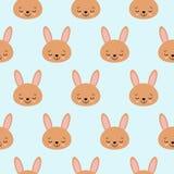 Милая картина младенца с меньшим зайчиком Вектор печати девушки мультфильма животный безшовный Сладкая предпосылка с кроликом для иллюстрация штока