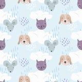 Милая картина мультфильма с котами, собаками и мышами иллюстрация штока