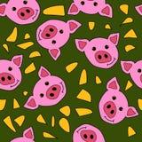 Милая картина свиньи вектора для знамени или ткани бесплатная иллюстрация