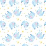 Милая картина слона Безшовная предпосылка акварели с голубым персонажем из мультфильма слона Минимальный дизайн печати младенца и Стоковая Фотография RF