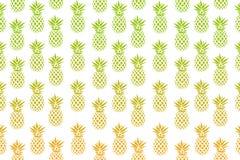 Милая картина с ананасами на белой предпосылке также вектор иллюстрации притяжки corel Абстрактная экзотическая печать лета Красо Стоковые Изображения