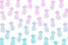 Милая картина с ананасами на белой предпосылке также вектор иллюстрации притяжки corel Абстрактная экзотическая печать лета Красо Стоковое Изображение RF