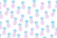 Милая картина с ананасами на белой предпосылке также вектор иллюстрации притяжки corel Абстрактная экзотическая печать лета Красо Стоковая Фотография RF