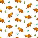 Милая картина трицератопса мультфильма для ткани детей иллюстрация вектора