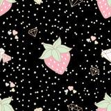 Милая клубника и украшенный с сердцами и диамантами безшовными Стоковое Изображение