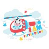 Милая корова как маленький пилот на иллюстрации шаржа вертолета для дизайна предпосылки футболки ребенк Стоковые Фотографии RF