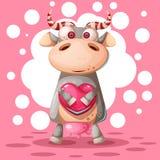 Милая корова с воздушным шаром сердца Иллюстрация влюбленности иллюстрация штока