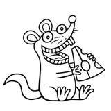 Милая крыса и часть сыра также вектор иллюстрации притяжки corel Стоковые Изображения RF