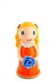 Милая кукла и голубой цветок Стоковое Фото