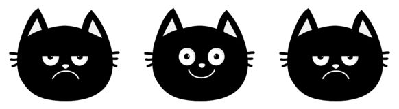 Милая линия черного кота установленная Собрание эмоции Счастливый, усмехаться и унылый, сердитый сторона головы котенка Мультфиль иллюстрация штока
