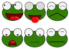 Милая лягушка мультфильма установила изолированные иллюстрации бесплатная иллюстрация