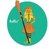 Милая маленькая ведьма, маленькая девочка хеллоуина шаржа волшебная, шляпа костюма характера, иллюстрация Стоковое Изображение RF