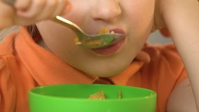 Милая маленькая девочка есть хлопья и молоко с аппетитом на завтрак, конец-вверх сток-видео