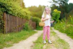 Милая маленькая девочка имея потеху во время похода леса на красивый летний день Стоковые Фото