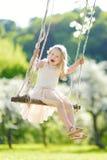 Милая маленькая девочка имея потеху на качании в blossoming старом саде яблони outdoors на солнечный весенний день стоковая фотография rf
