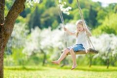 Милая маленькая девочка имея потеху на качании в blossoming старом саде яблони outdoors на солнечный весенний день стоковые фото