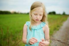 Милая маленькая девочка имея outdoors потехи на солнечном вечере лета Природа ребенка исследуя стоковое фото rf