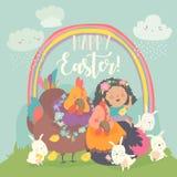 Милая маленькая девочка со смешными цыплятами и кроликами пасха счастливая бесплатная иллюстрация