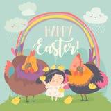Милая маленькая девочка со смешными цыплятами пасха счастливая иллюстрация вектора