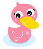 Милая маленькая розовая резиновая утка Стоковое Фото