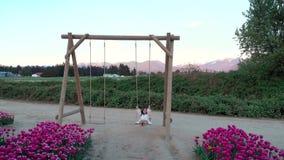 Милая молодая женщина брюнета в белом платье лета на качании около поля тюльпана на заходе солнца сток-видео