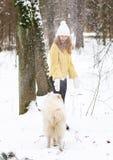 Милая молодая женщина в игре Forest Park зимы Snowy идя с ее Samoyed собаки белым стоковая фотография rf