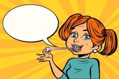 Милая молодая женщина с жевательной резиной иллюстрация штока