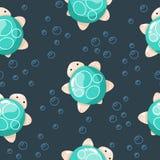 Милая морская черепаха, иллюстрации руки вычерченные Безшовная картина идеальная для упаковочной бумаги, ткани, дизайна предпосыл бесплатная иллюстрация