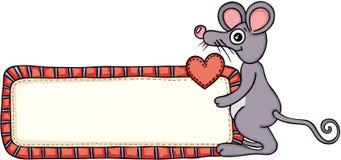 Милая мышь держа знак ярлыка пробела влюбленности иллюстрация вектора