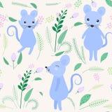 Милая мышь с предпосылкой флористических и лист безшовной картины бесплатная иллюстрация
