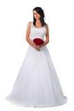 Милая невеста брюнет изолированная на белизне Стоковое Изображение