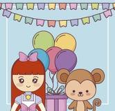 Милая обезьяна с поздравительой открыткой ко дню рождения с днем рождений маленькой девочки иллюстрация вектора