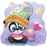 Милая панда шаржа в связанной крышке иллюстрация вектора