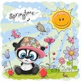 Милая панда шаржа на луге иллюстрация штока