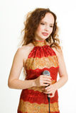 милая певица стоковые фотографии rf