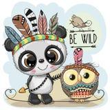 Милая племенная панда и сыч с пер иллюстрация вектора