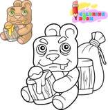 Милая плюшевый мишка ест мед, книжка-раскраску, смешную иллюстрацию иллюстрация вектора