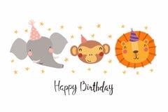 Милая поздравительая открытка ко дню рождения животных бесплатная иллюстрация