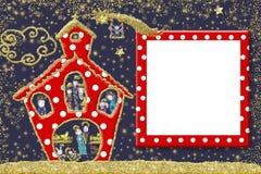 Милая поздравительная открытка рамки рождества Стоковое Изображение RF