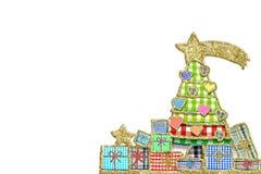 Милая поздравительная открытка рождественской елки и подарков Стоковое Изображение