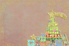 Милая поздравительная открытка рождественской елки и подарков Стоковое Изображение RF