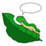Милая предпосылка белизны иллюстрации чертежа иллюстрации гусеницы и иллюстрации лист и говорить Стоковое фото RF