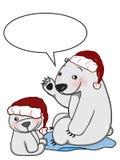 милая предпосылка белизны иллюстрации чертежа шаржа и говорить иллюстрации чертежа шляпы рождества полярного медведя матери и мла бесплатная иллюстрация