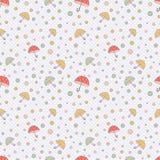 Милая простая безшовная картина в пастельных цветах с пестроткаными точками и зонтиками польки вектор Печать для изготовления  иллюстрация вектора
