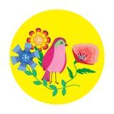 Милая птица над флористической предпосылкой также вектор иллюстрации притяжки corel Стоковая Фотография RF