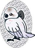 Милая птица снега представляя с красной лентой на винтажной предпосылке Стоковое Фото