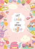 Милая рамка составленная чашки, торта и кофе Стоковые Фото