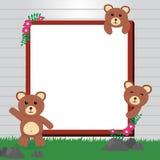 Милая рамка фото медведя/милый шаблон карточки медведя Стоковая Фотография