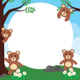 Милая рамка фото медведя/милый шаблон карточки медведя Стоковая Фотография RF