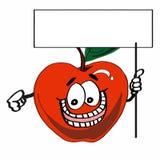 Милая расцветка чертежа шаржа иллюстрации яблока и знамени Стоковые Фотографии RF